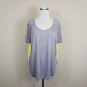 Express High Low Open Back Top Gray Yellow